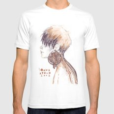 Fashion illustration profile portrait gold black white markers and watercolors White Mens Fitted Tee MEDIUM