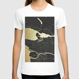Vancouver Canada Black and Gold Map T-shirt