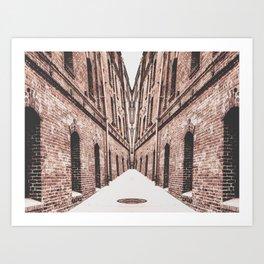 walkway in the middle of the brown brick buildings Art Print