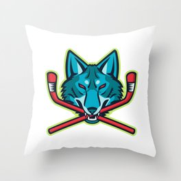 Coyote Ice Hockey Sports Mascot Throw Pillow