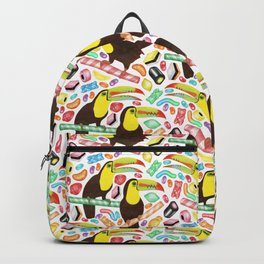 Toucandy - rainbow sweets and licorice surround tropical toucans on candy canes Backpack