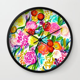 Bright Colorful Floral painting Wall Clock