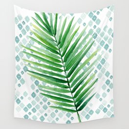 Tropical Palm Frond Watercolor Painting Wall Tapestry