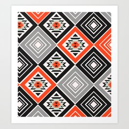Aztec geometry with diamonds Art Print
