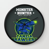 monster hunter Wall Clocks featuring Monster Hunter All Stars - The Tanzia Brawlers by Bleached ink