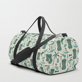 Tropical Tiki - Cream & Aqua Duffle Bag