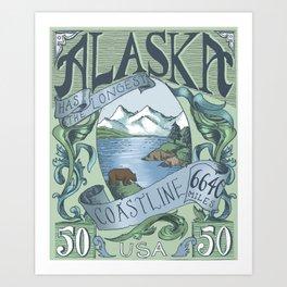Alaska Vintage Postage Stamp Art Print