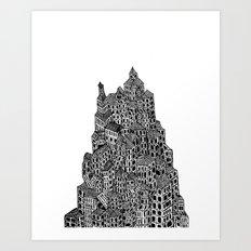 Broken Pyramid Town  Art Print