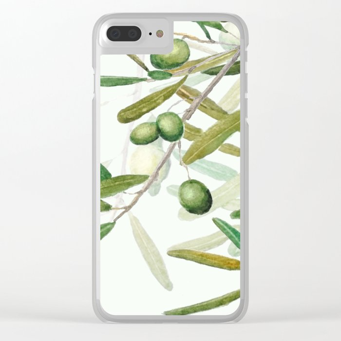 Green Olive watercolor painting Clear iPhone Case