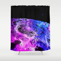 the moon Shower Curtains featuring Purple Blue Galaxy Moon  by 2sweet4words Designs