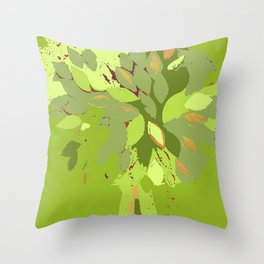 Green tree, mixed media fiber art Throw Pillow