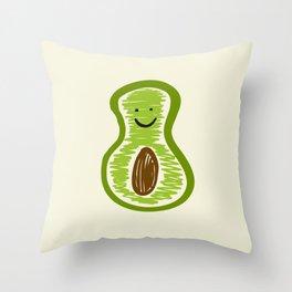 Smiling Avocado Food Throw Pillow