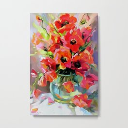 Poppies In A Glass Vase Metal Print