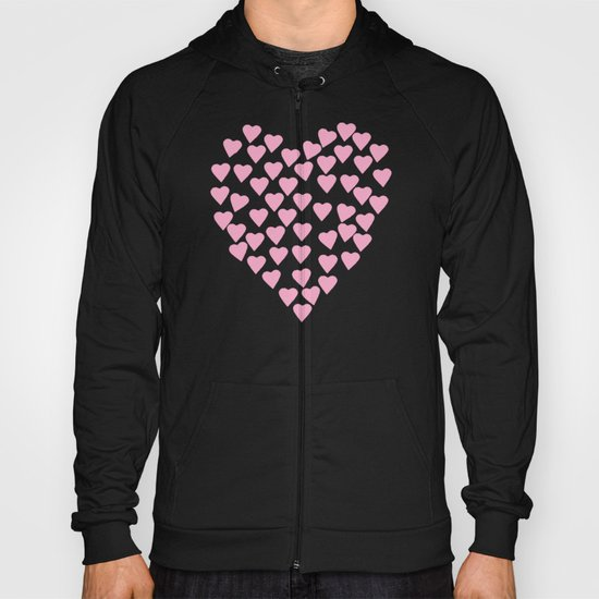 Hearts Heart Pink on Blue Hoody