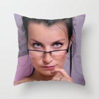 teacher Throw Pillows featuring Teacher by Karel Stepanek