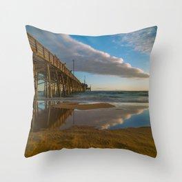 Sunset Cloud Reflections at Newport Pier Throw Pillow
