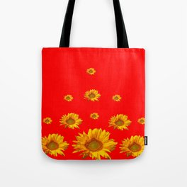 FLOATING GOLDEN YELLOW SUNFLOWERS RED COLOR Tote Bag