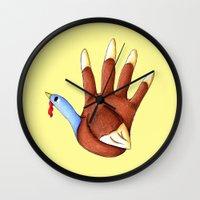 turkey Wall Clocks featuring 1st Turkey by KristenOKeefeArt