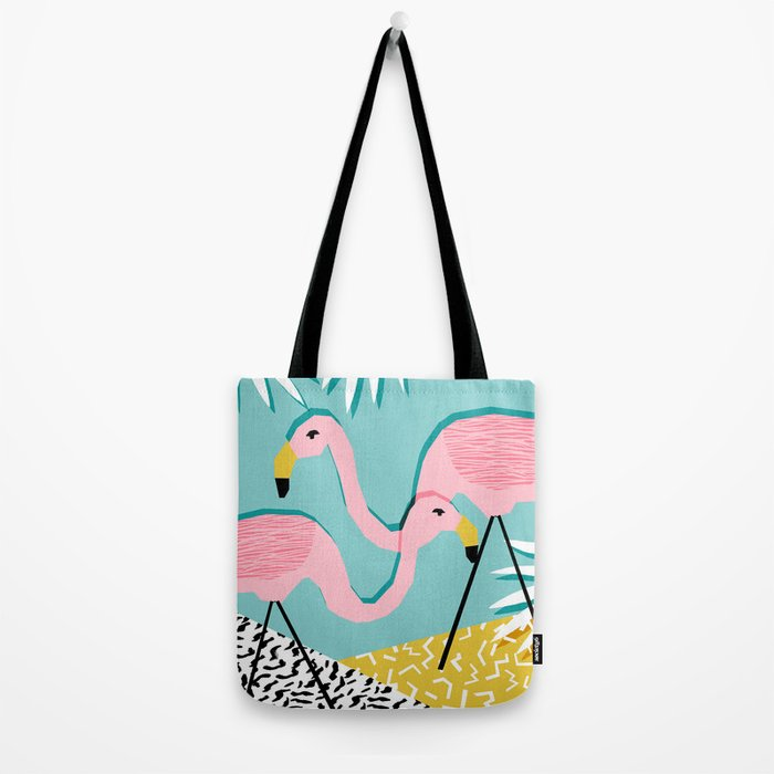 Bro - wacka design memphis throwback minimal retro hipster 1980s 80s neon pop art flamingo lawn Tote Bag