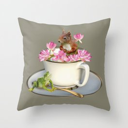 Coffee Cup with Squirrel & Frog pink Lotus Flowers Throw Pillow