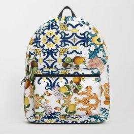 Sicilian vintage summer blue tiles pattern with lemon and kiwi Backpack