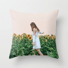 Lost in Sunflowers Throw Pillow