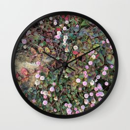 Tiny pink flowers Wall Clock