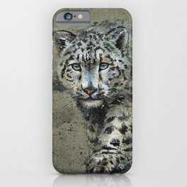 Snow leopard background iPhone Case