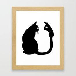 Chasing Shadows - Cat Tail Hand Shadow Puppet Surreal Fantasy Framed Art Print