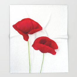 Two Red Poppies Throw Blanket