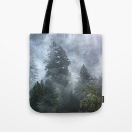 Smoky Redwood Forest Foggy Woods - Nature Photography Tote Bag