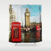 england Shower Curtains featuring London, England by Abby Gracey