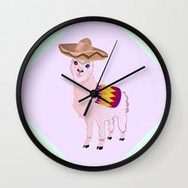 Cartoon Alpaca in Sombrero Wall Clock