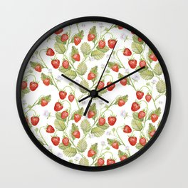 Seamless texture Summer strawberries, juicy berries on a white background. Wall Clock