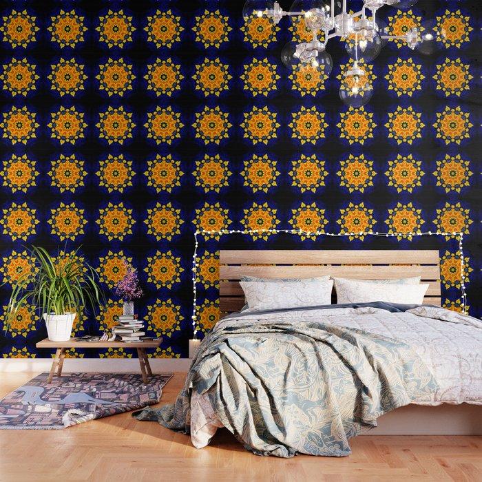 Yellow Orange Floral Madala Background Dark Blue Wallpaper By Costa