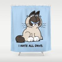 grumpy Shower Curtains featuring Always Grumpy by Mike Handy Art