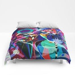 Night life, Wassily Kandinsky inspired geometric abstract art Comforters