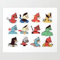 super heroes Art Prints featuring Super Heroes by Ryder Doty