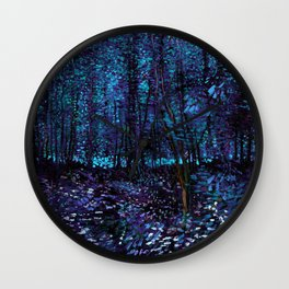 Van Gogh Trees & Underwood Indigo Turquoise Wall Clock