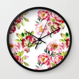 Watercolor pattern with peony flowers Wall Clock