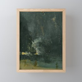 Nocturne In Black And Gold The Falling Rocket By James Mcneill Whistler   Reproduction Framed Mini Art Print