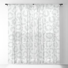 Elegant White Gray Leopard Cheetah Animal Print Sheer Curtain