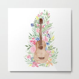 Watercolor Acoustic Guitar with Florals Metal Print