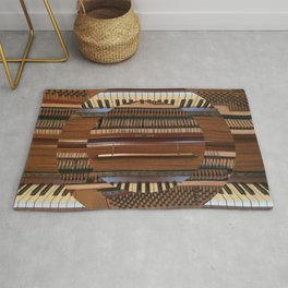 Abstract Upright Piano - Music, Classical, Geometric, Piano Keys, Music Notes Rug