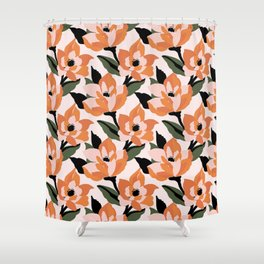 Bold orange poppy on a soft pink base Shower Curtain
