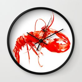 Red Kitchen Seafood Red Lobster design, art, painting Boston Wall Clock