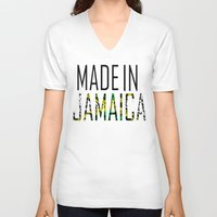 jamaica V-neck T-shirts featuring Made In Jamaica by VirgoSpice