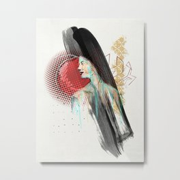 She Misses Her Hamburger Hobo Metal Print