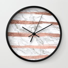 Modern chic faux rose gold brush stripes white marble Wall Clock