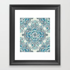 Floral Diamond Doodle in Teal and Turquoise Framed Art Print